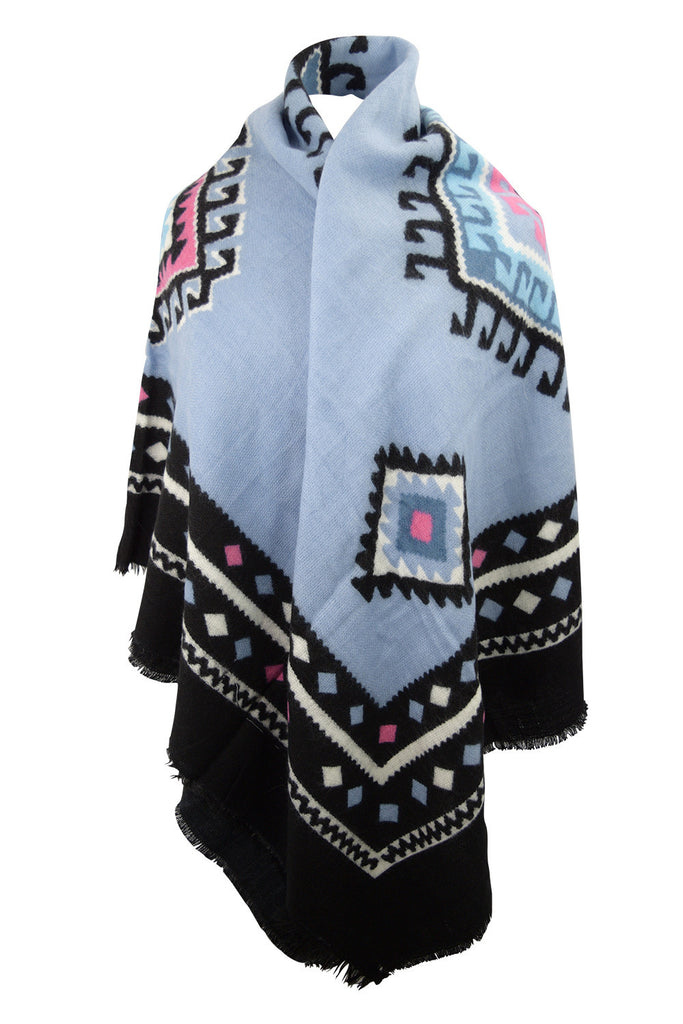 Navajo Aztec Bohemian Warm Winter Ethnic Tribal Pattern Large Scarf Wrap - Skelapparel