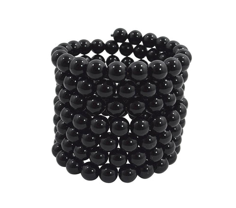 Rockabilly Gothic Multi-Layered Black Beads Stretch Bracelet - Skelapparel