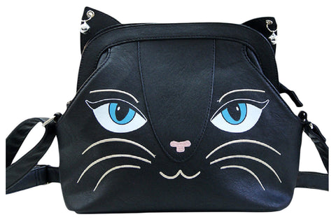 Gothic Emo Meow Black Cat Neko Crossbody Purse with Bells - Large - Skelapparel