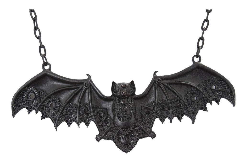 Lace Bat Vespertilio Gothic Vampire Bat Pendant Necklace - Skelapparel
