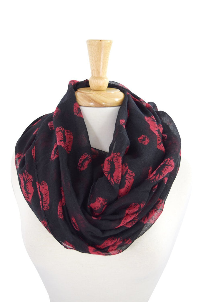 red lips kiss scarf