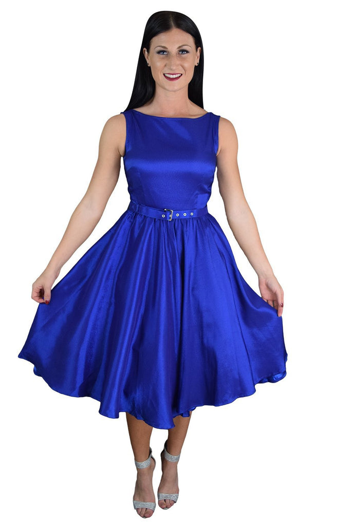 Rockabilly Pinup Deep Blue Satin Cocktail Flare Party Swing Dress Plus - Skelapparel - 1