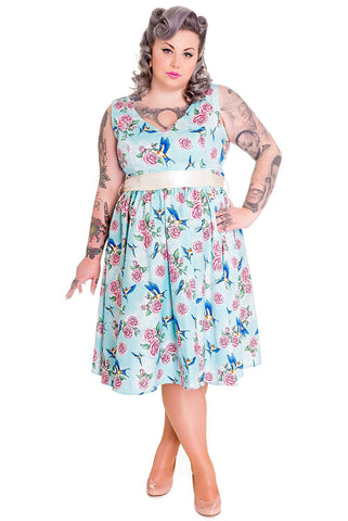 Hell Bunny 50's Retro Vintage Blue Birds and Pink Roses with Bow Party Dress - Skelapparel