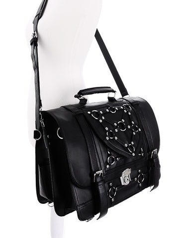 Restyle Gothic Witchcraft Bondage Messenger Expandable 3 Way Bag - Skelapparel - 1