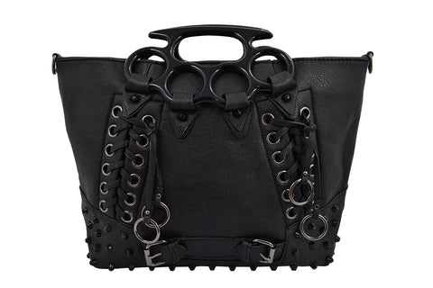 Goth Punk Rave Large Brass Knuckles Handles Black Tote Handbag - Skelapparel