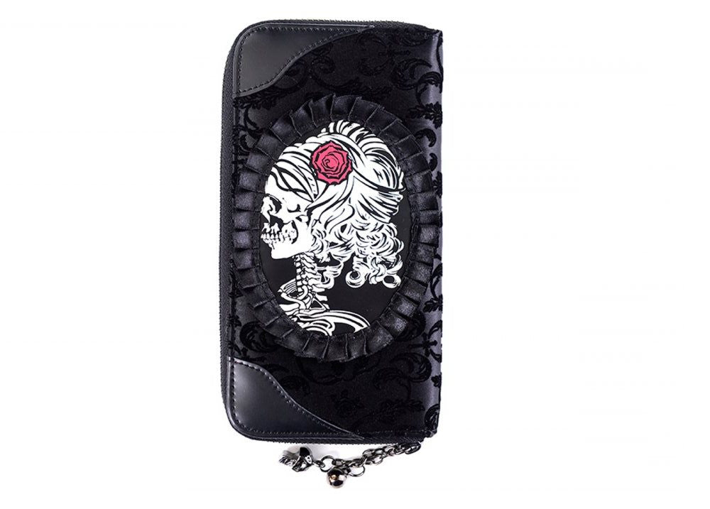 Banned Black Flocked Cameo Skull Lady Rose Gothic Zip Around Wallet - Skelapparel - 1