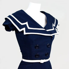 Bettie Page 60's Vintage Inspired Sailor Pinup Sailor Navy Pencil Dress - Skelapparel - 2