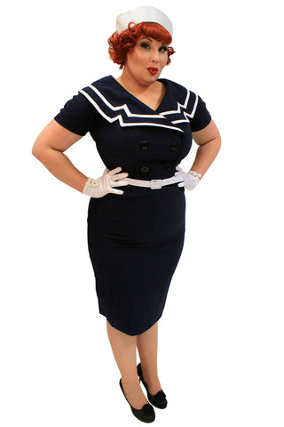 Bettie Page 60's Vintage Inspired Sailor Pinup Sailor Navy Pencil Dress - Skelapparel - 1