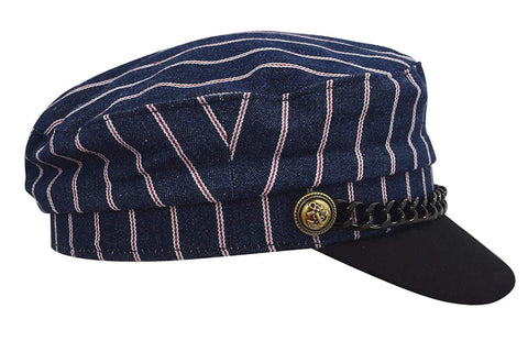 Striped Cotton Sailor Captain newsboy Cap With Black Chain Trim Flat Top