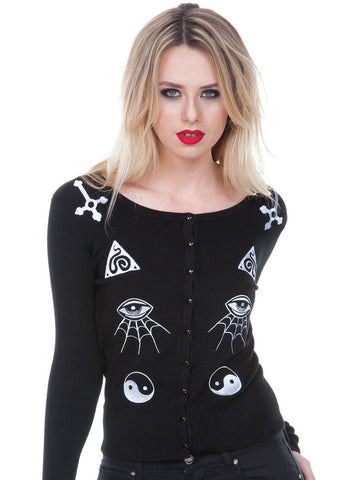 Jawbreaker Gothic Esoteric Alchemy and Occult Symbols Embroidery Cardigan - Skelapparel