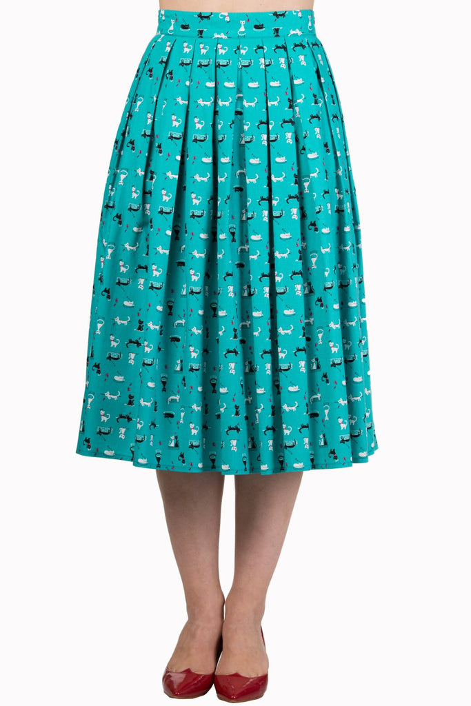 60's Retro Kitty Love Vintage Kitty cat Print Pleated midi skirt - Teal Green - Skelapparel