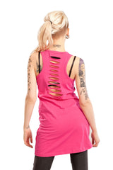 Ripped back Pink Punk Rock Cherry Bomb Tattoo tank