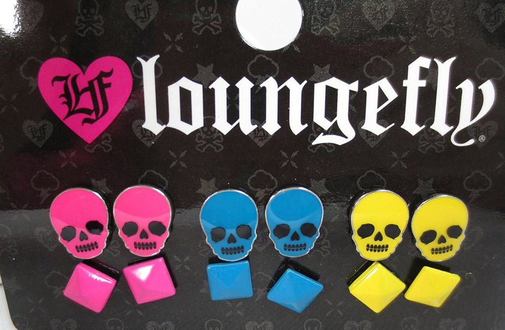 Loungefly Punk Rock Candy Skulls & pyramid Studs Earrings Pack - Skelapparel