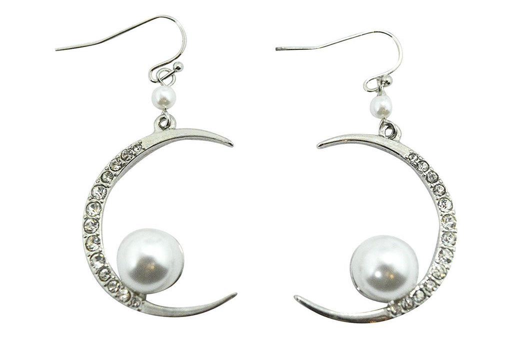 Cresent Moon with Imitation Pearl Accent Dangle Earrings - Skelapparel