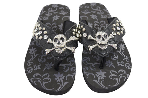 Gothic Punk Rock Crystal Skull and Crossbone Concho Metal Bling Studed Black Flip Flops