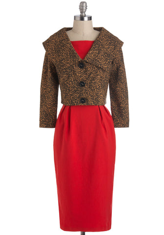 Vintage Vixen Pinup Red Pencil Dress with Leopard Jacket - Skelapparel - 1