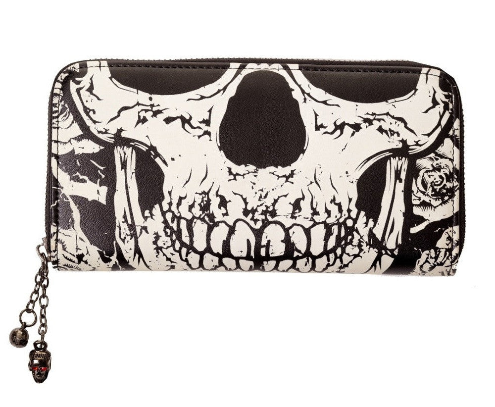 Banned Apparel Gothic Death Skull Face Glow in the Dark Zip Around Wallet - Skelapparel