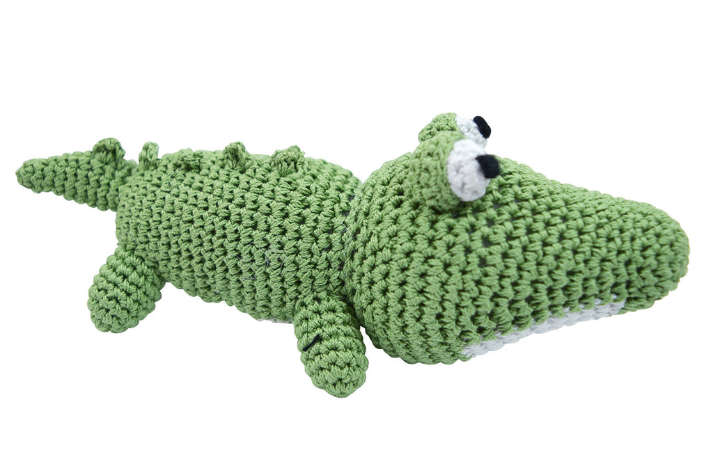 Dog Teeth Cleaning Cotton Crochet Squeaky Dog Toy for Small Dog - Alligator - Skelapparel