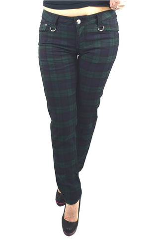 Lost Queen Punk Rock Ireland Dublin Green Tartan Skinny Pants - Skelapparel