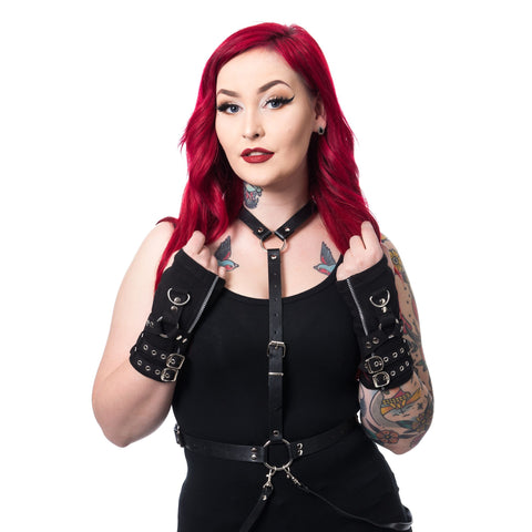 Poizen Industries Goth Rockabilly Lady Black Gloves with buckles
