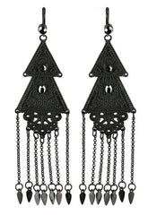 Restyle Long Double Triangle Earrings pagan boho gypsy style Chandelier Earrings