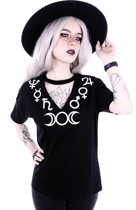 witchcraft symbols black tee womens