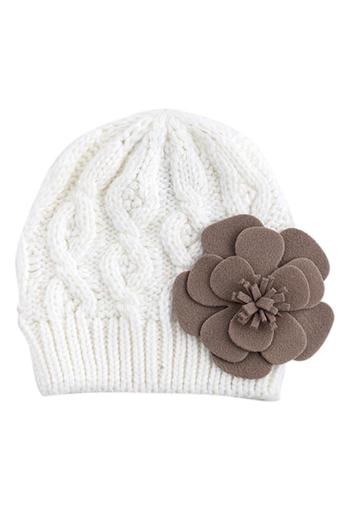 Bohemian Love Large Felt Flower Accent Knit Warm Beanie Hat for Kids - Skelapparel