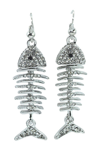 Gothic Steampunk Fishbone - Fish Skeleton Earrings - Skelapparel