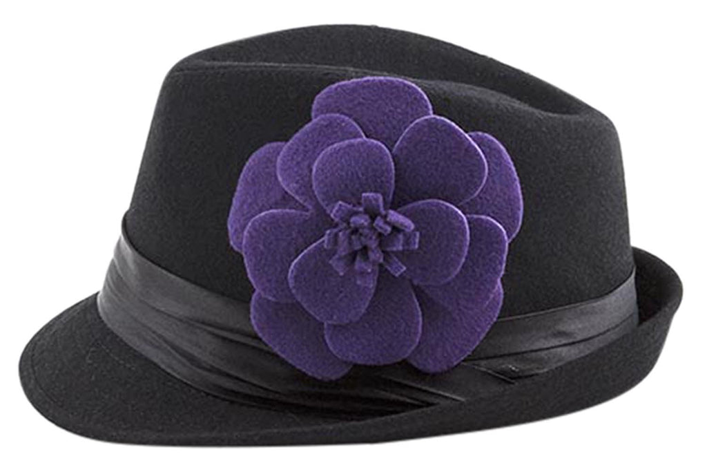 Bohemian Rock Flower Accent Slanted Brim Fedora Hat - Skelapparel
