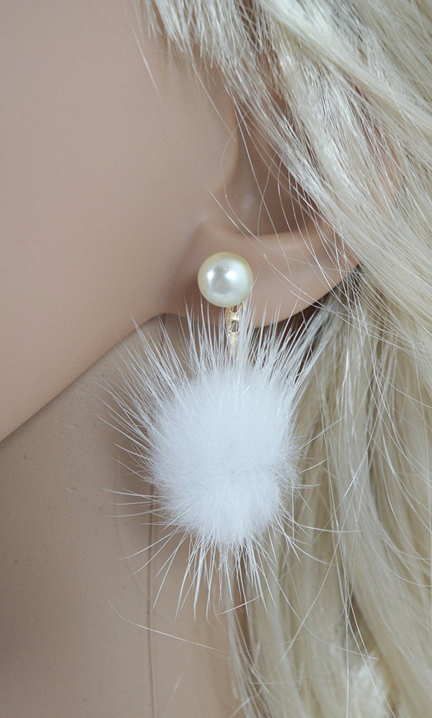 Rabbit White Fur Fuzzy FUR POM POM & Faux Pearl Earrings - Skelapparel