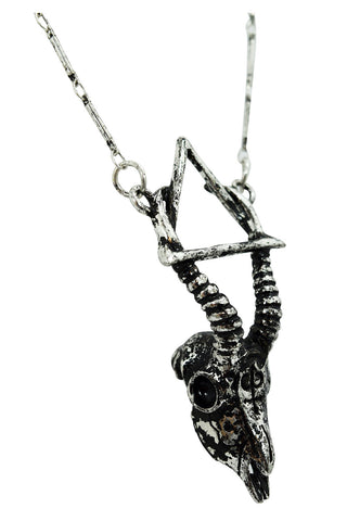 Goth Nature Gazelle Skull Arsenic Alchemy Symbol Necklace - Skelapparel