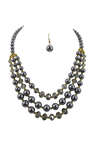Bridal gray pearl necklaces