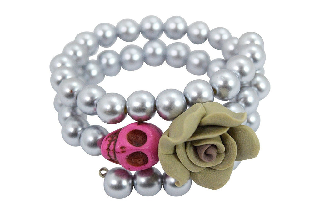 Day of the Dead Turquoise Skull and Rose Pearl Bracelet - Skelapparel