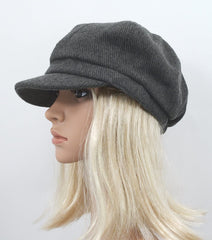 Boho Gray Corduroy Thick Panel Bohemian Chic Newsboy Cabbie Cap Hat