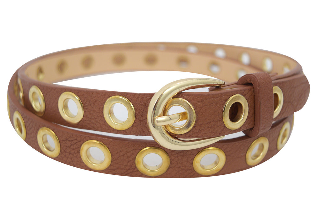 Grommets Skinny Belt - Skelapparel