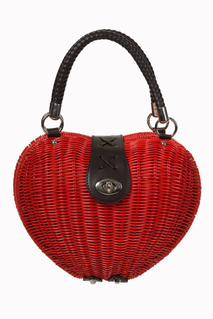 Vintage Pinup Lolita Red Heart Shaped Wicker basket Handbag - Skelapparel