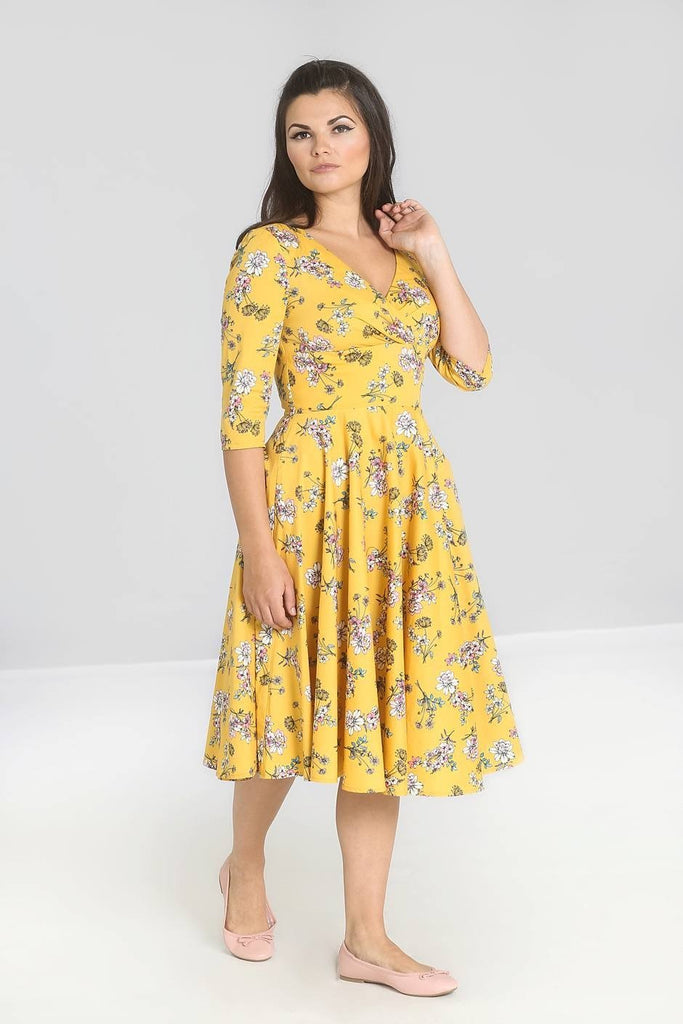 Hell Bunny Vintage Summer Garden Muriel Mustard Yellow 50's Dress