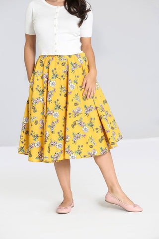 Hell Bunny Summer Vintage Garden Muriel Mustard Yellow 50's Skirt with Pockets