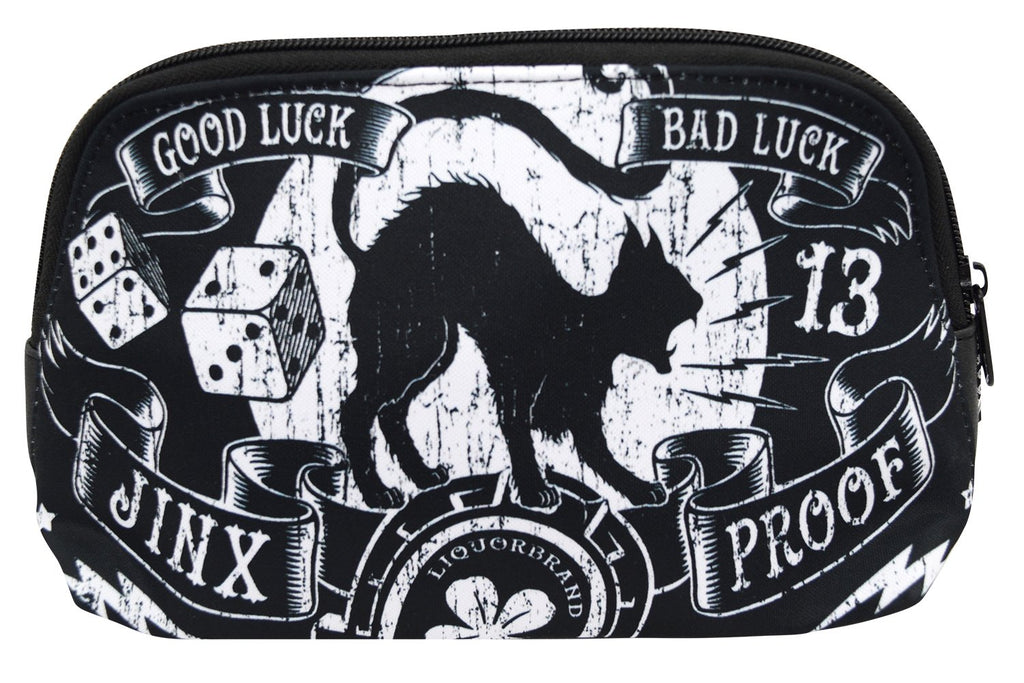 Liquorbrand Jinx Proof Halloween Black Cat Luck Goth Gothic Cosmetic Bag Pouch - Skelapparel