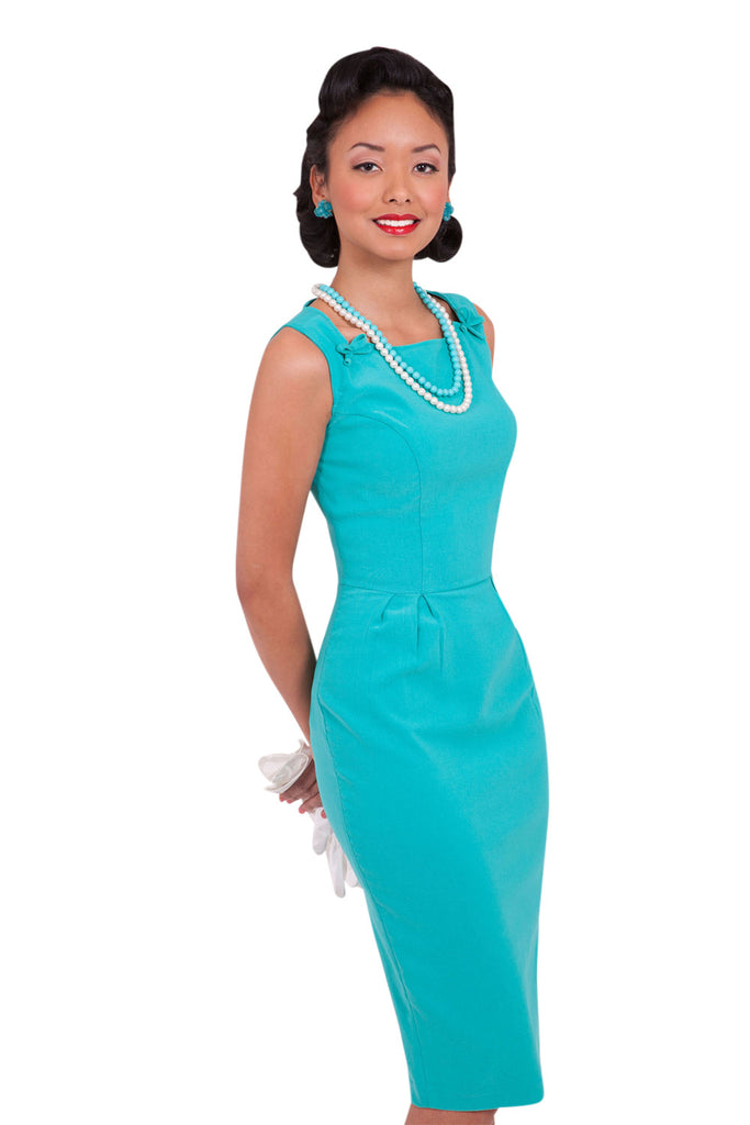 60's Vintage Office Lady glamorous Turquoise Blue Pencil Dress - Skelapparel - 1
