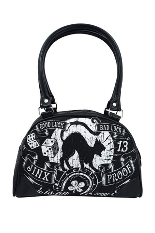 Liquorbrand Jinx Proof Black Cat Luck Goth Shoulder Purse - Skelapparel