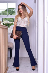 Navy Blue Dressy Work Office Stretchy Slim high waisted flared pants - Skelapparel