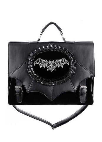 Restyle Magic Bat  Embroidered Satchel Bat Cameo Bag Witch Gothic Black Satchel Bag - Skelapparel