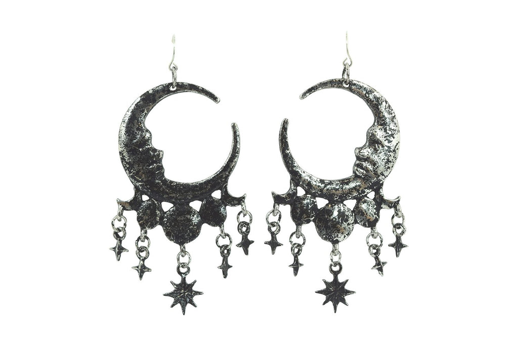 Celestial Goth Crescent Moon Face and Stars Sleepless Nights Witchy Silver Earrings - Skelapparel