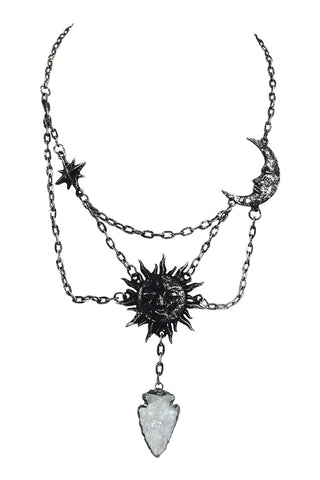 Celestial Goth Sun and Moon with Crystal Arrowhead Magic Amulet Necklace - Skelapparel