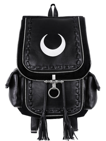 Restyle Gothic Witch Crescent White Moon Embroidered Black Denim Backpack - Skelapparel - 1