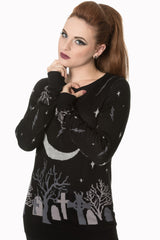 moon night black knit sweter