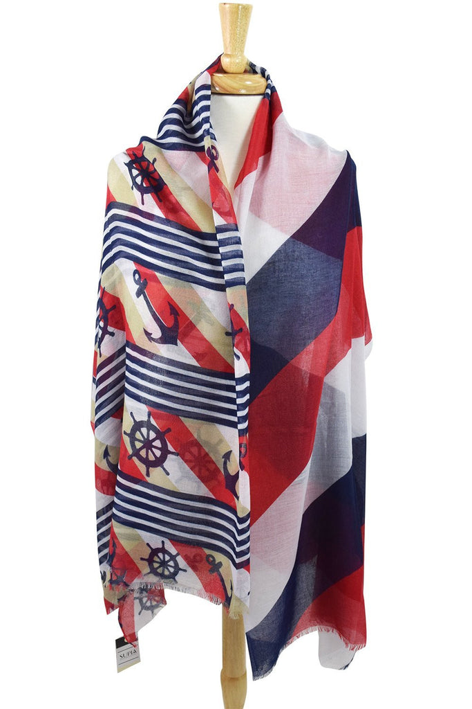 Anchor & Boat Wheel Pattern Nautical Stripes Fashion Scarf - Skelapparel