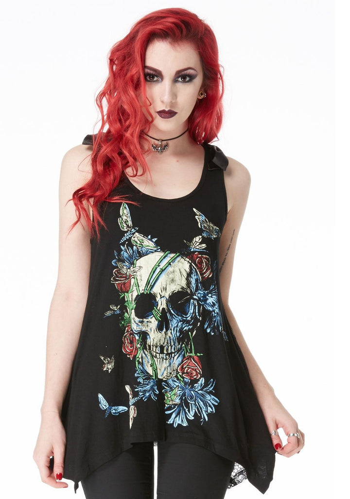 Gothic Love Skull Death - Skull with flowers and colorful moth Flare Tank Top - Skelapparel - 1