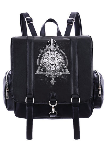 Occult Black Backpack, Cat skull, Moon, Gothic, square backpack - Skelapparel